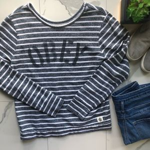 Obey Grey and White Striped Sweater
